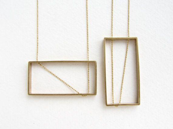 Rectangle pendant statement necklace geometric by SoraDesignsBlack