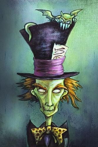 Mad Hatter by Diana Levin Tattoo Art Print Alice in Wonderland Character | eBay