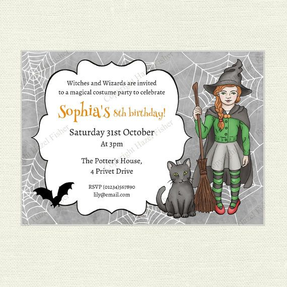 Halloween witch printable invitation - use it for Halloween parties or magical themed birthday parties!  hfcSupplies Etsy