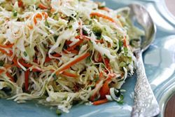 """Jicama Slaw -   If you're serving spicy Mexican flare you'll enjoy the cool, crisp sensation of this veggie-packed Jicama Slaw. Start with a bag of """"angel hair"""" shredded cabbage for coleslaw, add thinly sliced jicama and carrot and toss with a cilantro-lime vinaigrette and you've got one fantastic side dish. #CincodeMayo"""