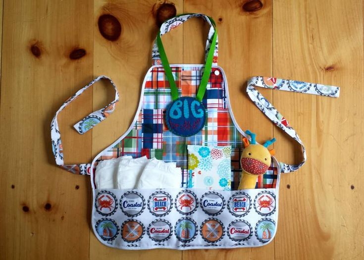 Mommy's Helper Kit for the Big Bro in your family... designed to help him get involved with caring for his new baby sibling! (diapers, wipes  rattle included with apron - medal optional) - Cedric