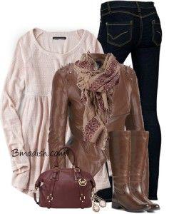 long sweater and biker jacket fall outfit bmodish