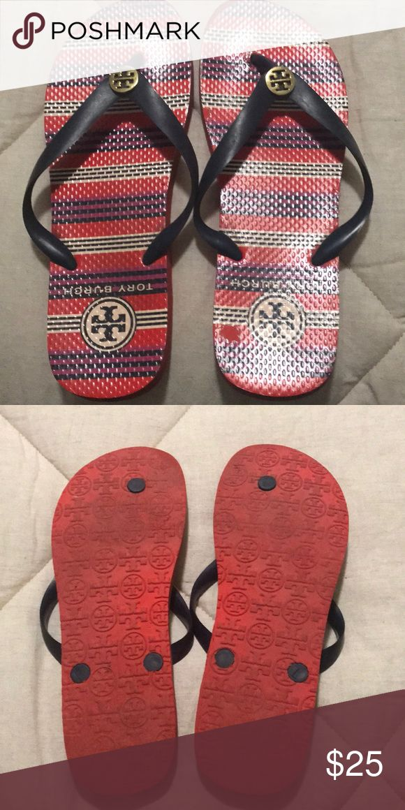 Tory Burch flip flops Red white and blue toy Burch flip-flops Tory Burch Shoes Flats & Loafers #flipflops