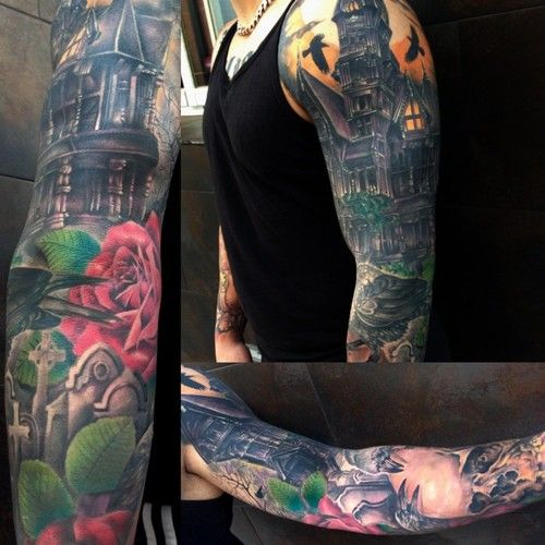 HAUNTED HOUSE sleeve by Jose Gonzalez at Ink-in Tattoo (Marbella, Spain)