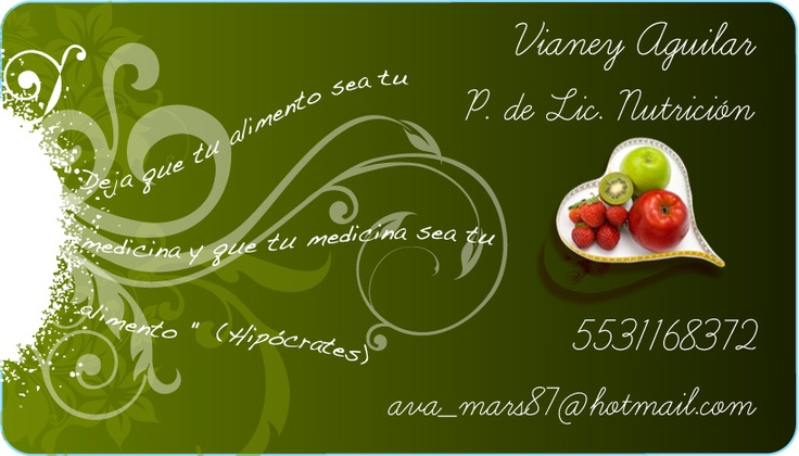 Business card made for a Dietitian (Mexico City)