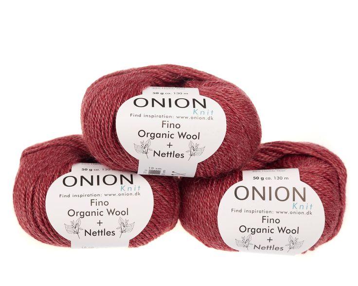Mørk rød V808 - No. 4 - Fin økologisk uld med nældefibre - Onion - Strikkepinden - Nøgler á 50 gram