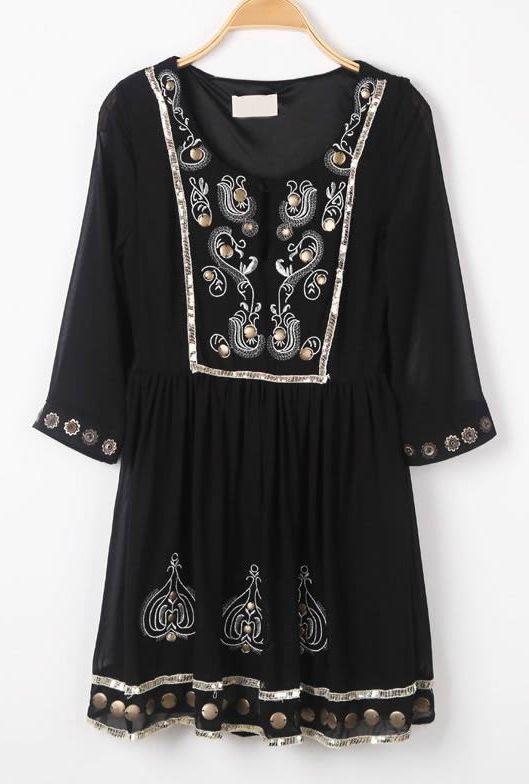 Vestido bordado mental mangas largas-Negro EUR36.64
