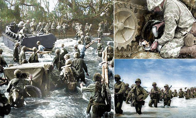 These previously unseen colourised photos show the lengths US soldiers went to during America's attempts to capture several Pacific Islands from the Japanese during the Second World War.