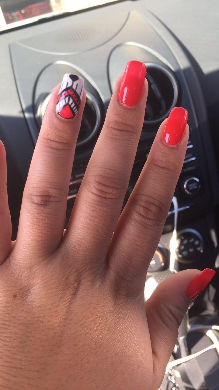Ferrari Red Nails Naildesigns Aztecdreamcatcher Redhot