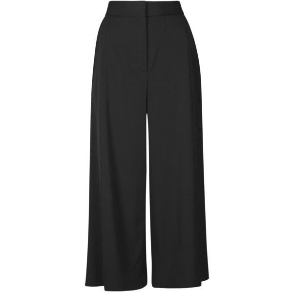 Proenza Schouler Black Cropped Wide Leg Trousers ($390) ❤ liked on Polyvore featuring pants, capris, wide-leg pants, proenza schouler, cropped pants, cropped trousers and cropped capri pants