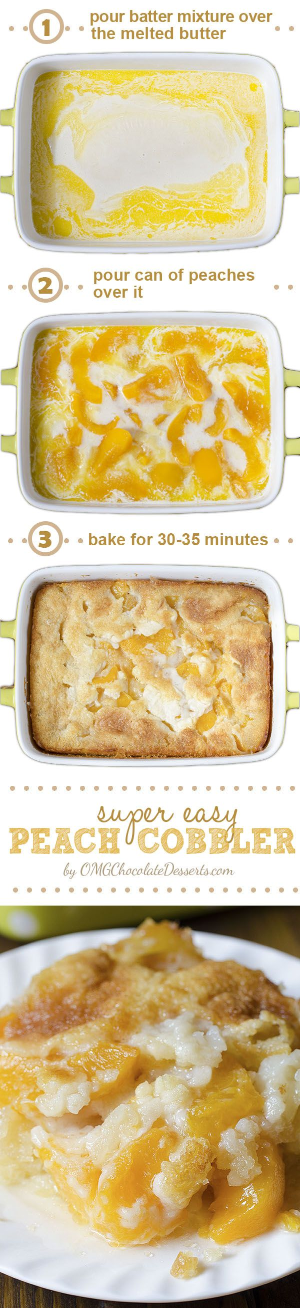 There are three reasons why this fantastic Peach Cobbler can become one of your favorite recipes – it's super tasty, super simple and super economic. #peach #cobbler #recipe