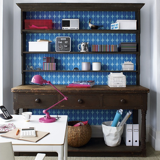Love the wallpaper behind the dresser: Decor Ideas, Old Furniture, Offices Design, Hutch Redo, Shelves, Wallpapers, Dressers, The Offices, Home Offices