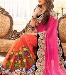 Buy pink embroidered art silk saree with blouse designer-embroidered-saree online