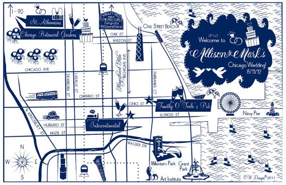 custom wedding map chicago il choose your city location to be