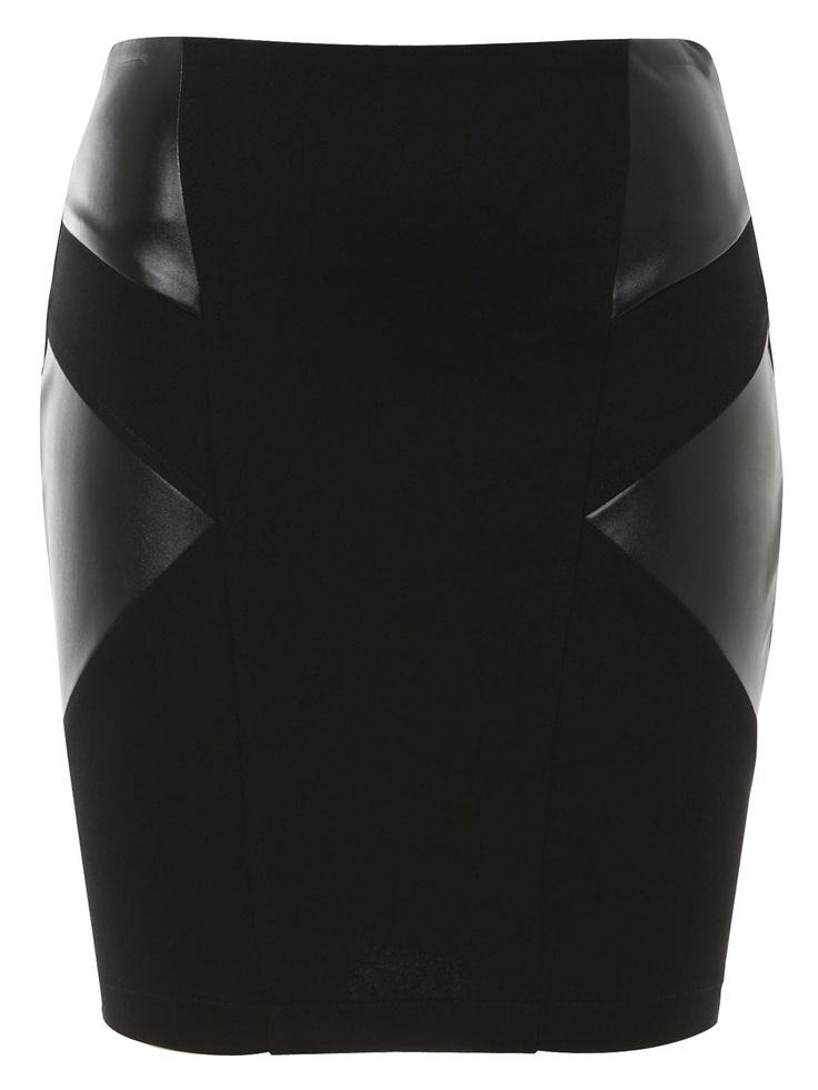 black pu panel skirt (£15) - defo a clubbing skirt!