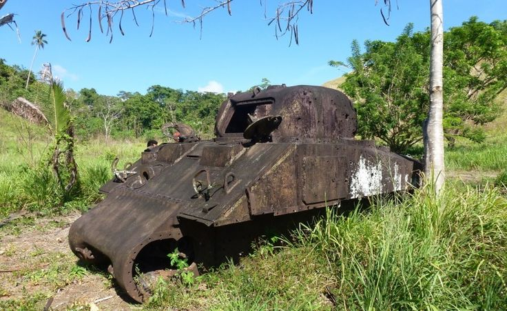 An abadoned Sherman tank on Guadalcanal  http://www.pagahillestate.com/exploring-world-war-ii-relics/