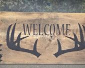 Items similar to Welcome Sign - Rustic Home Decor - Rustic Cabin Decor - Rustic Wood Sign - Hunting Sign - Hunting Decor - Antler Decor - Barn Wood Sign on Etsy
