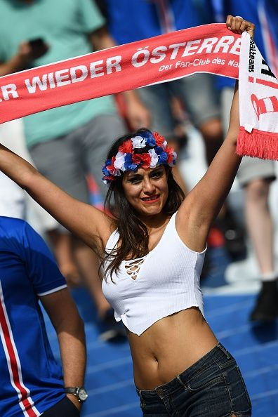 #EURO2016 An Austrian supporter cheers before the Euro 2016 group F football match between Iceland and Austria at the Stade de France stadium in SaintDenis...