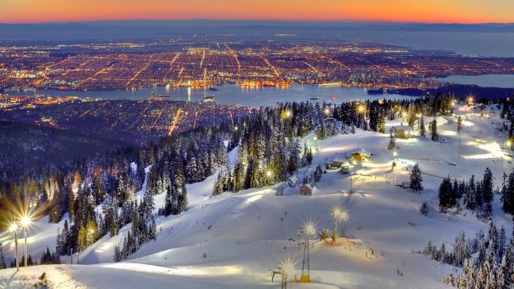 Free Winter Wallpaper - View of Vancouver From Grouse Mtn., British Columbia