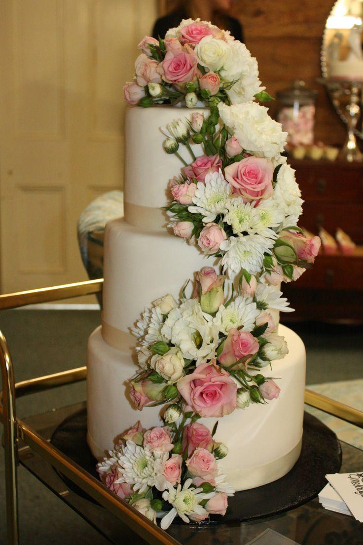 Cascading Flowers Ivory Cake