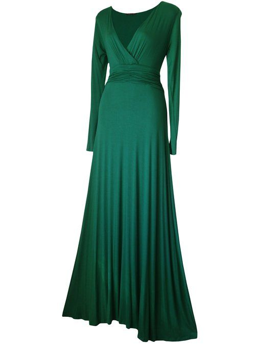 Women's Long Sleeved Evening, Maxi Dress Emerald Green