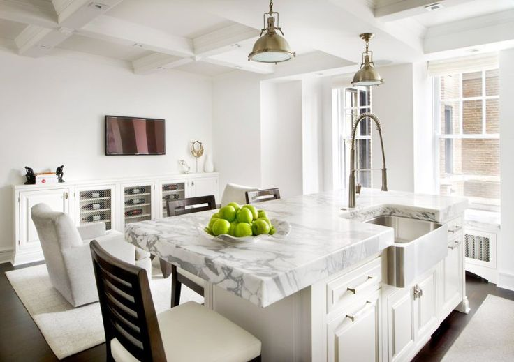White Kitchen Marble Stainless Steel Farmhouse Sink Island