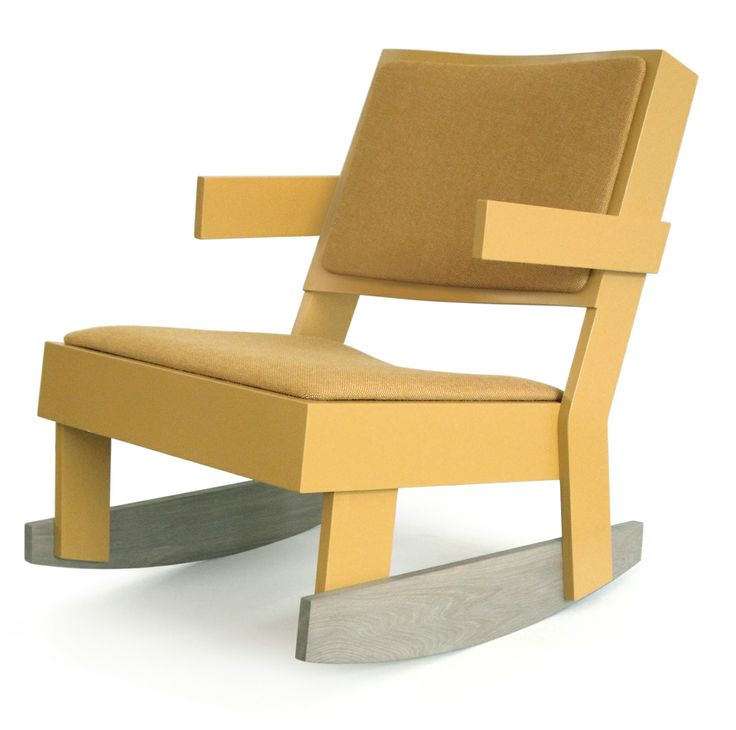 furniture collection   TOM FRENCKEN   rocking chair with linen upholstery and oak rockers.
