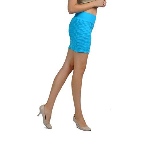 SoHo Textured Pintucked Mini Skirt, Turquoise, One Size