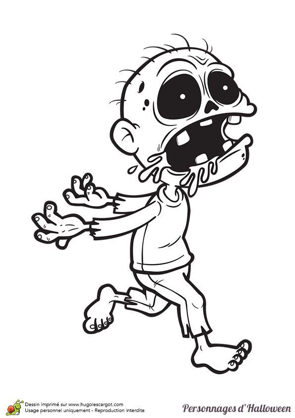 Coloriage d un mini zombie pour halloween lineart hallowemonsters pinterest - Coloriage zombie ...
