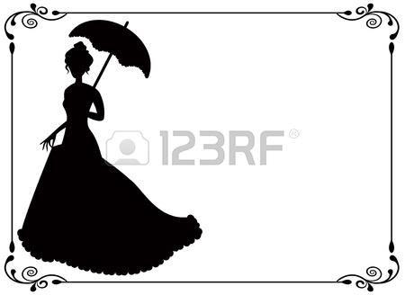 Силуэт девушки в длинном платье