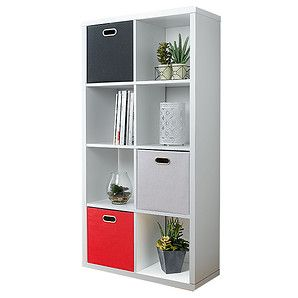 Multi Purpose Wood Grain 8 Cube Storage Unit - White