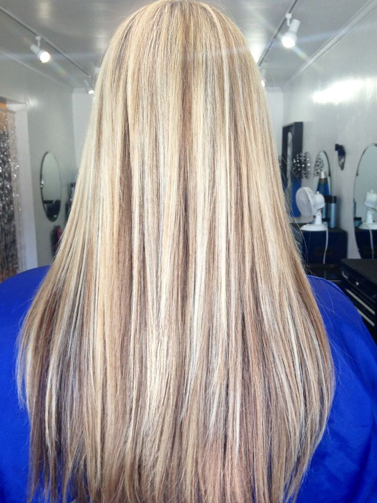 Platinum blonde with caramel lowlights