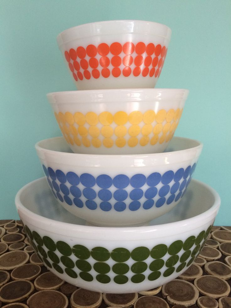 New Dots Pyrex Mixing Bowl Set - 401 402 403 404 - Orange, Yellow, Blue and Green - Midcentury Modern Atomic Vintage Bakeware by 20thCKitchenAndTable on Etsy