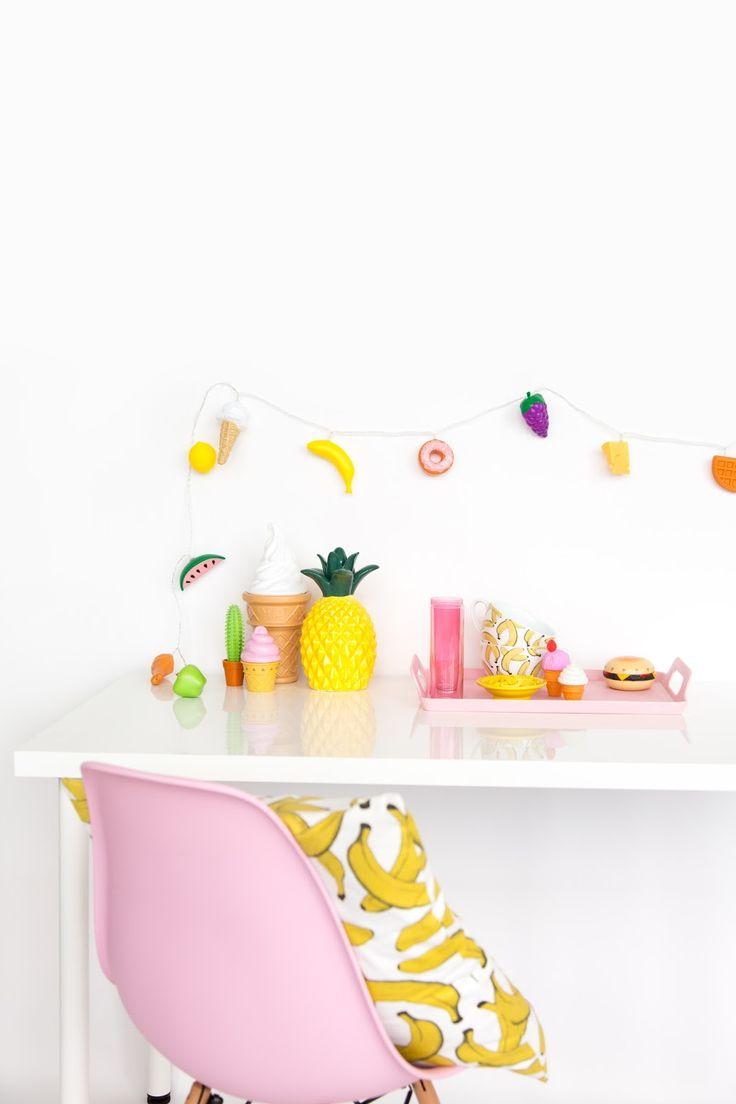 10 Minute DIY: Plastic Food String Lights D.I.Y Pinterest Donuts, The o jays and String lights