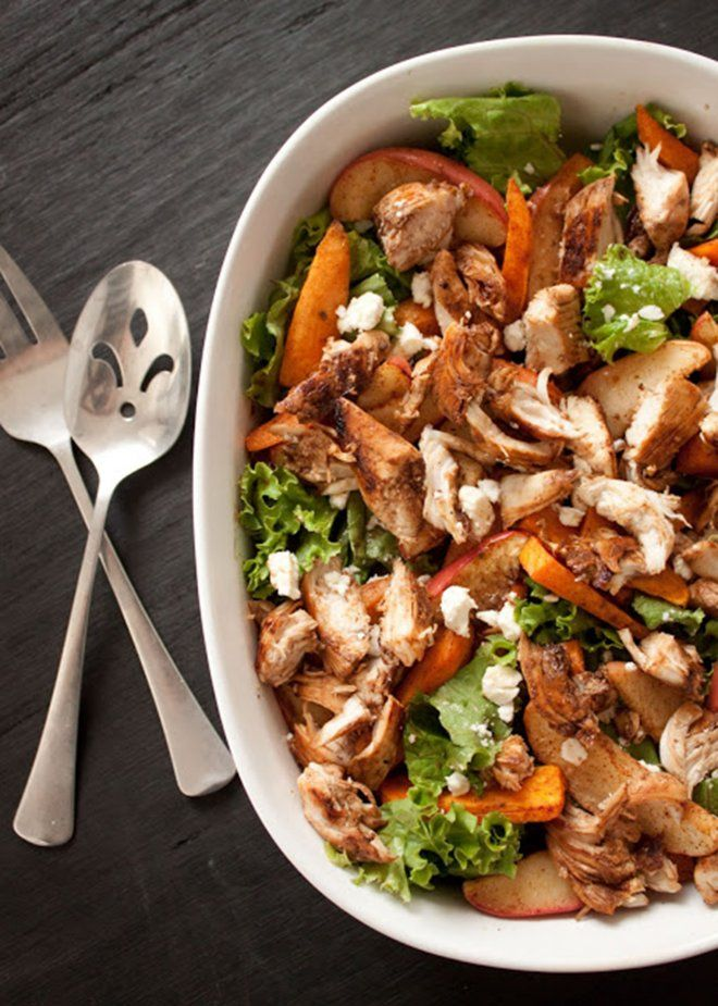 Cinnamon-Roasted Sweet Potato and Apple Salad with Chicken and Caramel Vinaigrette