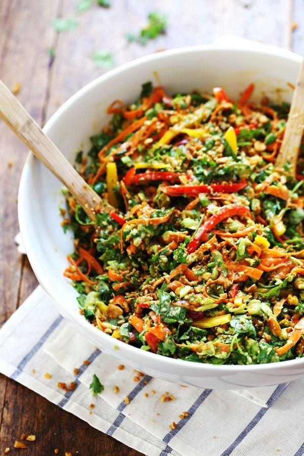 Chopped Thai Salad with Sesame Garlic Dressing: SO GOOD! A rainbow of power veggies with a flavorful homemade dressing. 390 calories. | pinchofyum.com