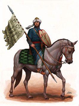 Cavalier du royaume de Grenade.  Illustration d'Angel García Pinto.