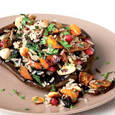 Taste Mag   Wild brown rice salad on grilled brown mushrooms @ https://taste.co.za/recipes/wild-brown-rice-salad-on-grilled-brown-mushrooms/