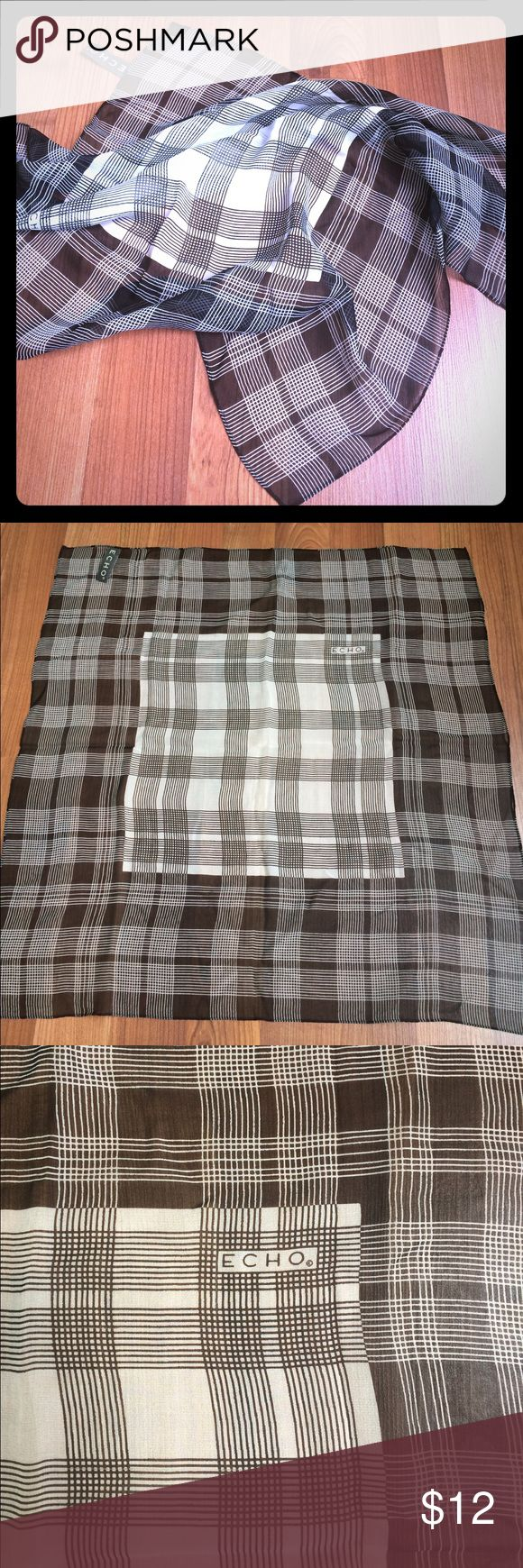 "Silk scarf black and white window pane plaid Lovely sheer silk scarf! Timeless black and white window pane plaid design. Rolled hem. Excellent used condition. 20""X 20"" Echo Accessories Scarves & Wraps"