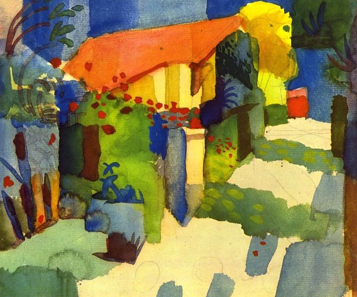 August Macke - 1914 House in the Garden, watercolour Mark Swiiter http://viajerosbrasilperublognoticias.blogspot.com.br/