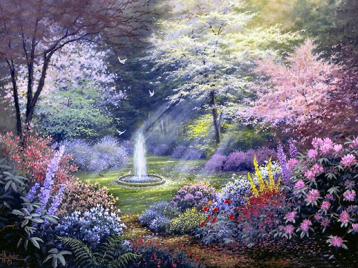 Garden of promise by charles h white art charles h for Pretty flower paintings