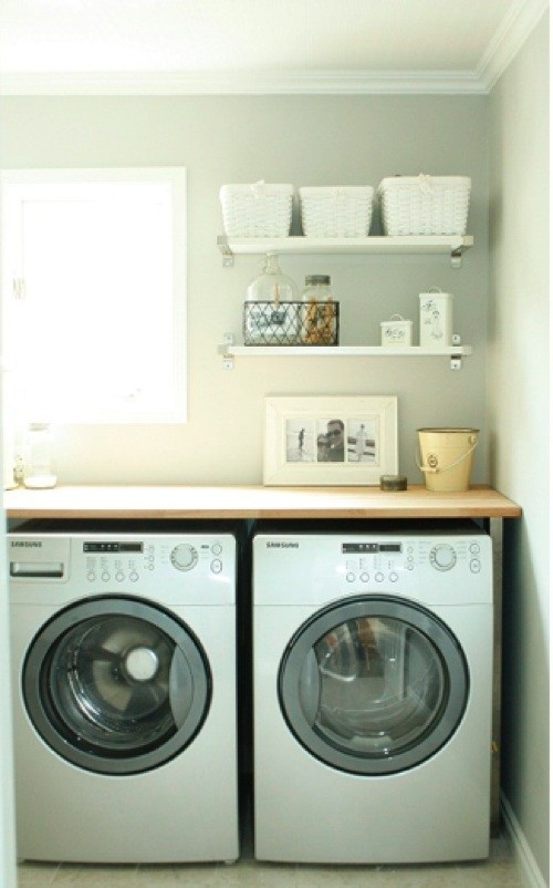 I so want a counter top over my washer and dryer.- And I finally did it!  Nice to have more space to fold