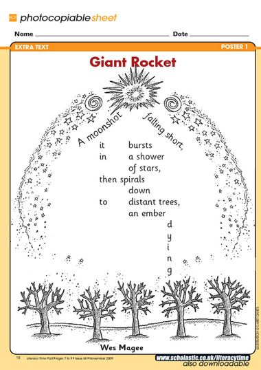A great firework-themed shape poem by Wes Magee.