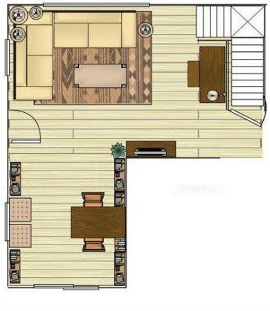 How to Optimize Typical Rental Layouts: The L-Shaped Living/Dining Area. Love the bookshelf/table combo