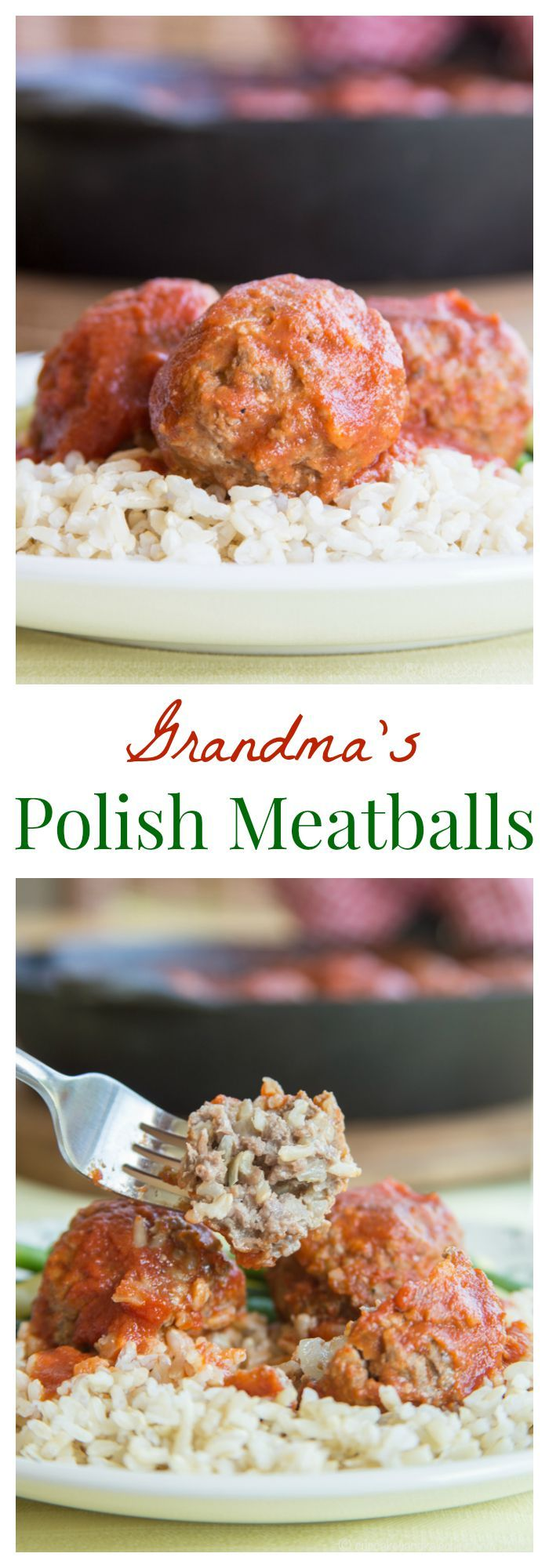 "Grandma's Polish Meatballs (aka ""Porcupine Meatballs"") - whenever my grandma made her traditional stuffed cabbage, she would take some of the savory meat filling and make these for me for #SundaySupper. 