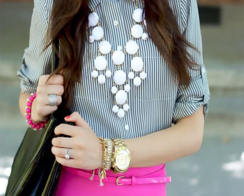 Neon Pink + tiny stripes: Kiss The Girls, Every Girls, Statement Necklaces, Bold Necklaces, Girls Generation, Pink Pants, Classic Color, Bubbles Necklaces, Pink Peonies