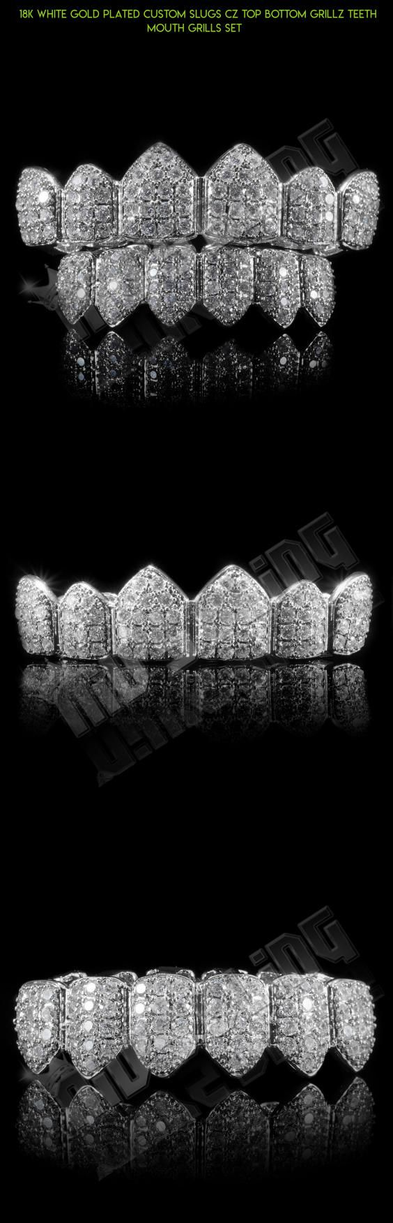 18K White Gold Plated Custom Slugs CZ Top Bottom GRILLZ Teeth Mouth Grills Set  #camera #drone #tech #bottom #kit #grills #racing #teeth #products #gadgets #plans #fpv #parts #shopping #technology