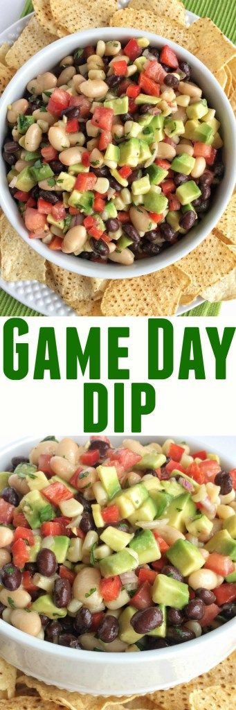 Game day dip is addictive, simple to make, and so delicious! Perfect for parties, gatherings, appetizer, and for game day food. Loaded with beans, corn, avocado, cilantro, red onion, red pepper and a simple Italian dressing seasoning.