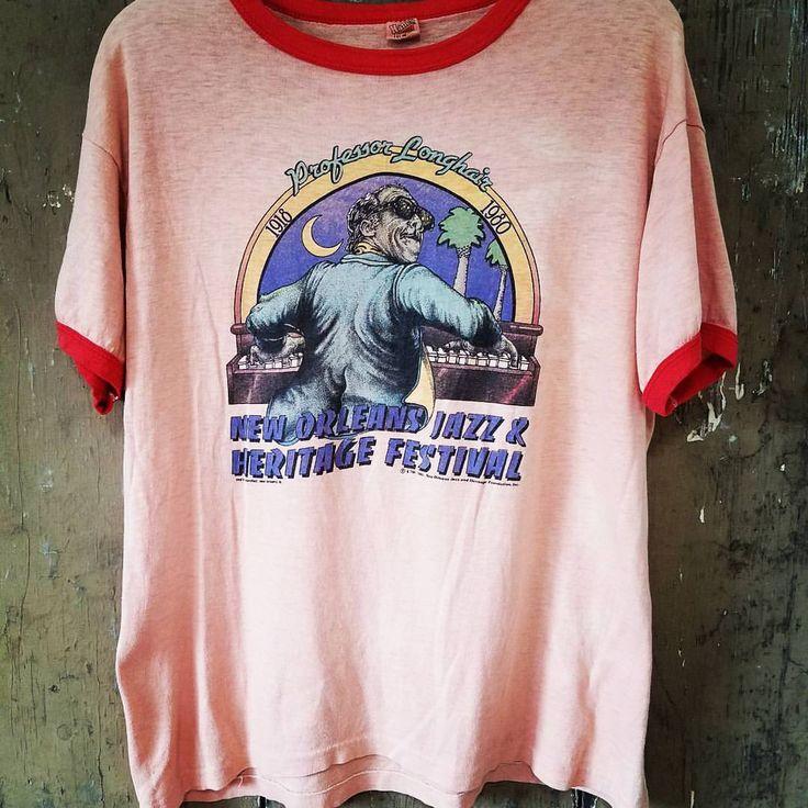 "23 Likes, 1 Comments - Bauknight Vintage (@bauknightvintage) on Instagram: ""1980 NEW ORLEANS JAZZ & HERITAGE FESTIVAL • PROFESSOR LONGHAIR vintage shirt. DM us for details.…"""