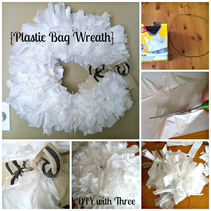 Renovating519: Plastic Bag Wreath from the DIY with Three Series